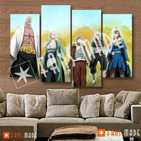 Wall Canvas - The Five Kage 4 Piece Canvas