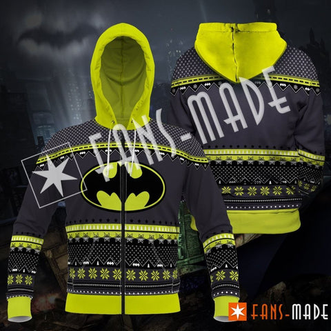 A Dark Knight Christmas Unisex Zipped Hoodie S Zip