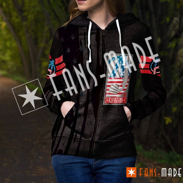 Fighting For Victory Unisex Zipped Hoodie Zip