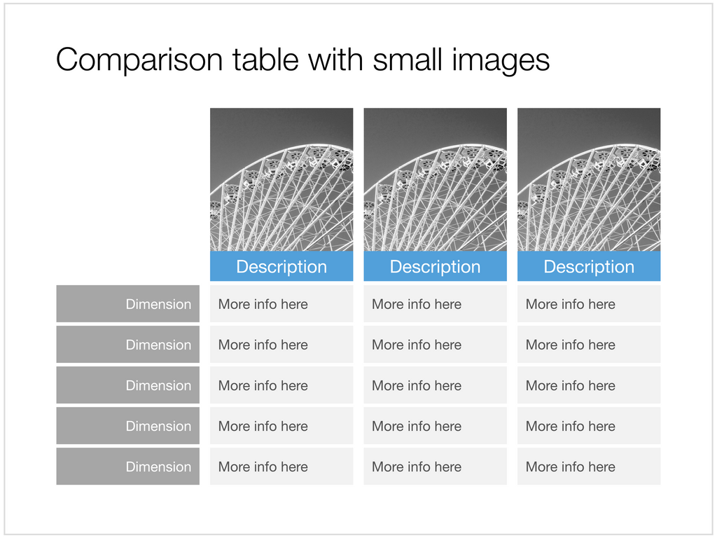 Feature table with images in Apple Keynote
