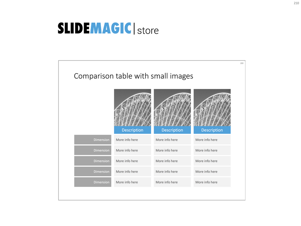 Feature table with images in PowerPoint