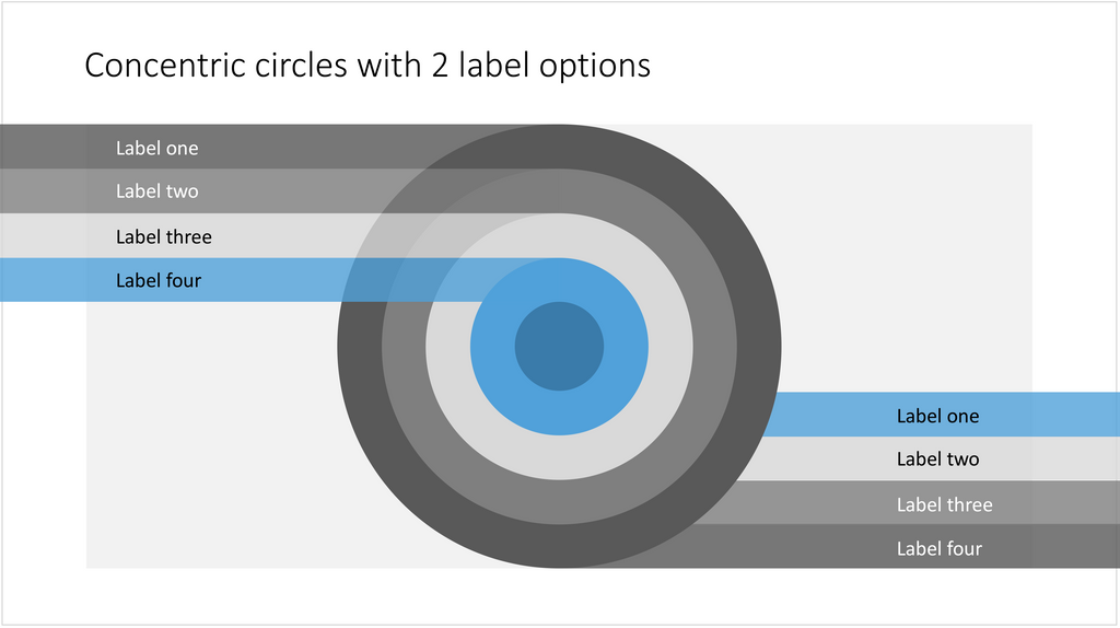 A PowerPoint slide with 5 concentric circles - 16:9 aspect