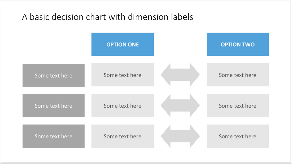 A PowerPoint template for a basic decision table