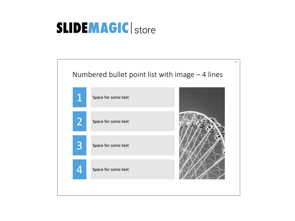 4 numbered bullets in PowerPoint