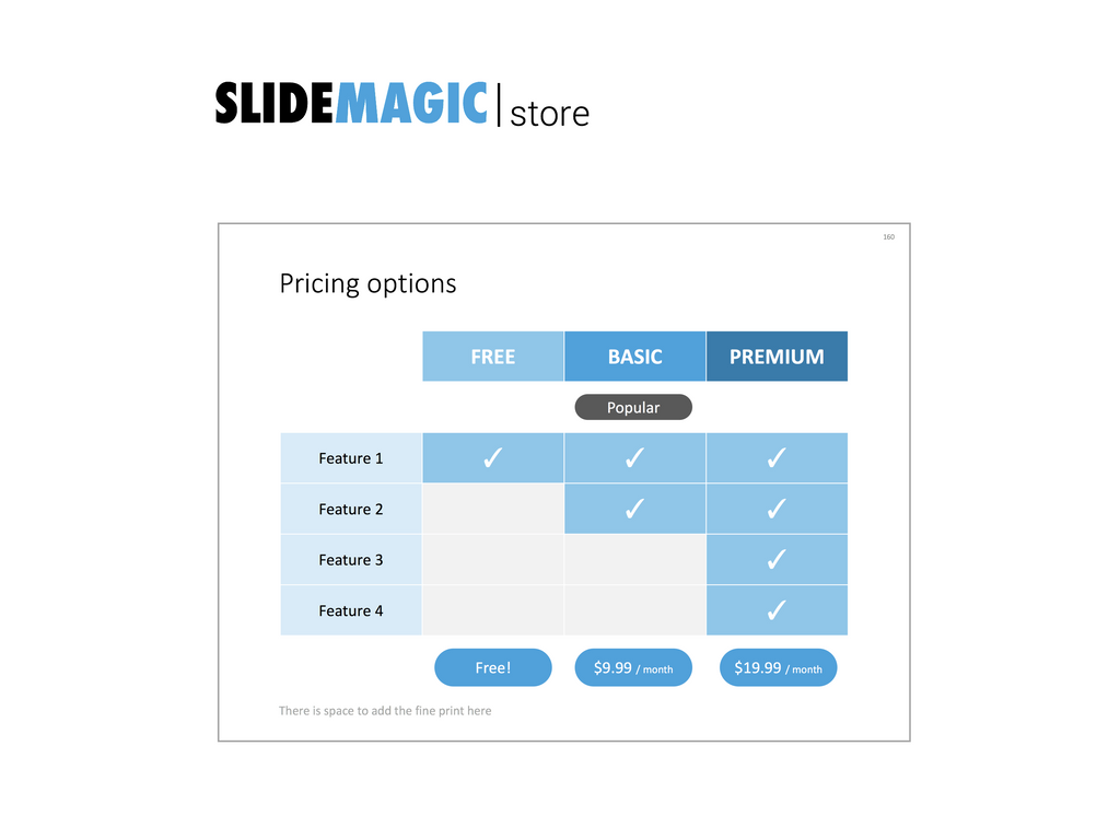 Pricing options in PowerPoint