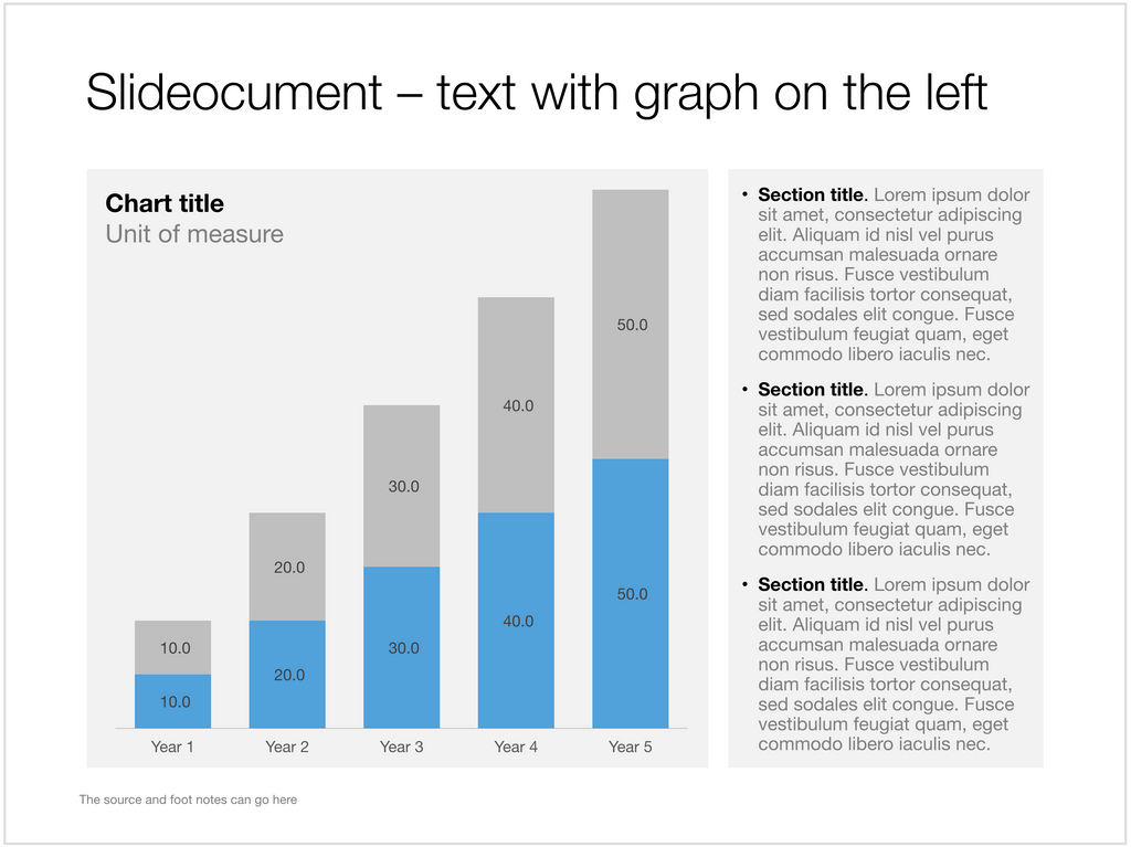 Column chart with dense text in Apple Keynote