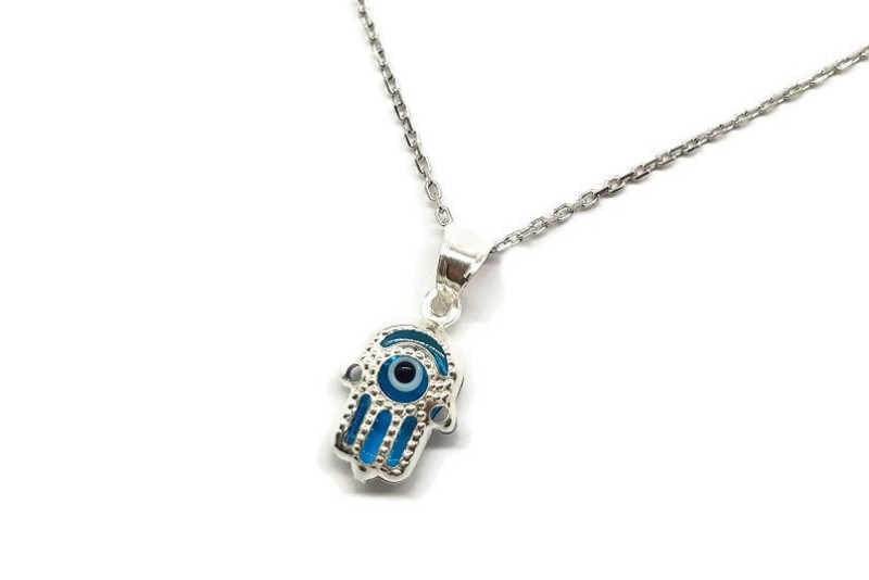 glass evil eye and 925 silver necklace