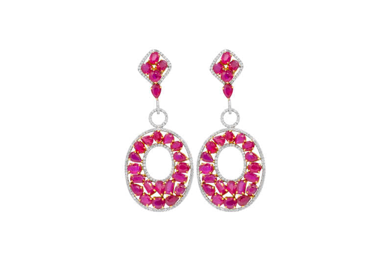 Pink Sapphire and Ruby with side White Diamonds Flower Shaped Cluster Drop Earrings crafted in White Gold