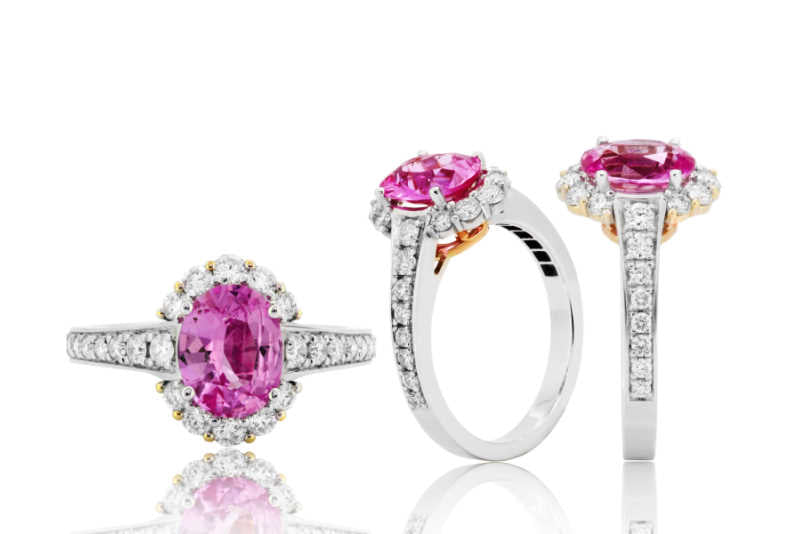 Pink sapphire ring and diamond in gold wedding jewelry
