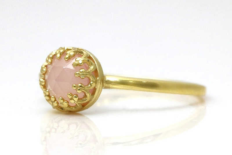 Rose gold ring pink chalcedony ring