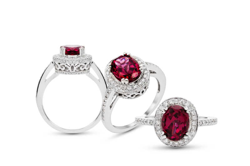 Rhodolite and Diamond Rings in White Gold