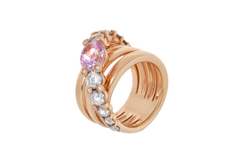 Rose gold ring with white and cognac diamonds and oval kunzite
