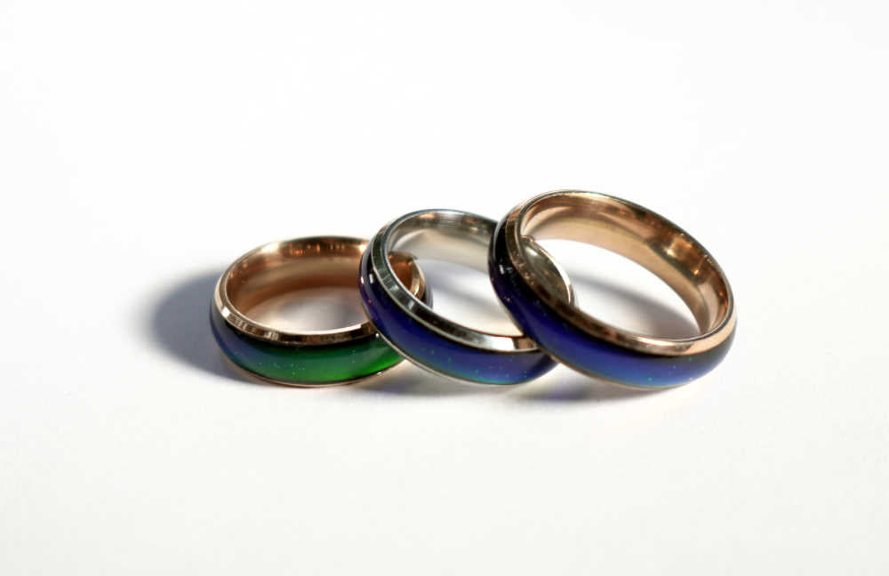 3 mood rings bands green and blue color