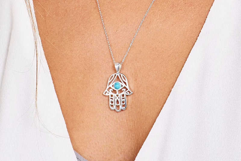 hamsa necklace in silver and turquoise