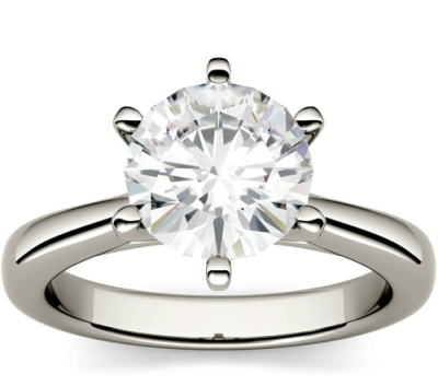Moissanite Solitaire round 6-prong engagement ring