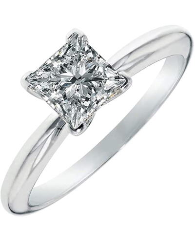 Moissanite 2.0 carat Princess cut engagement ring