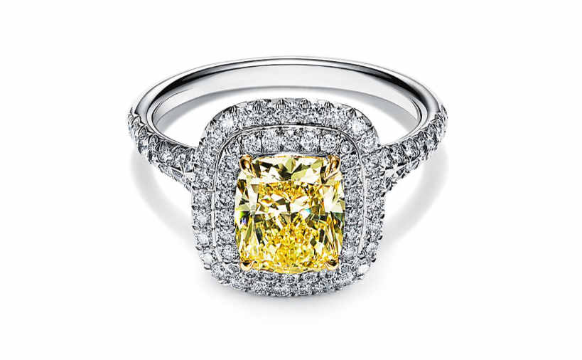 Tiffany cushion cut yellow color double halo engagement ring