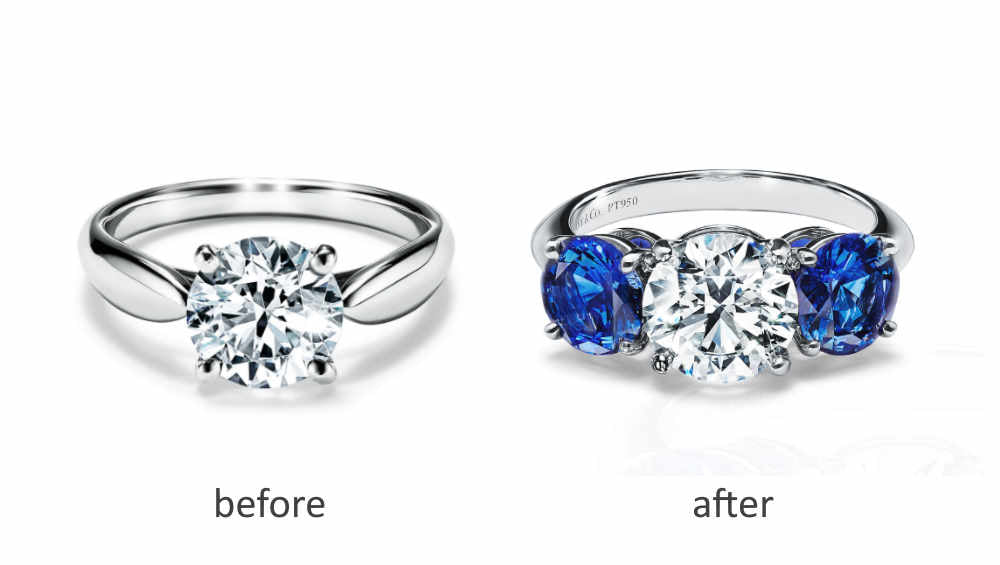 Add colored gemstones to a diamond engagement ring