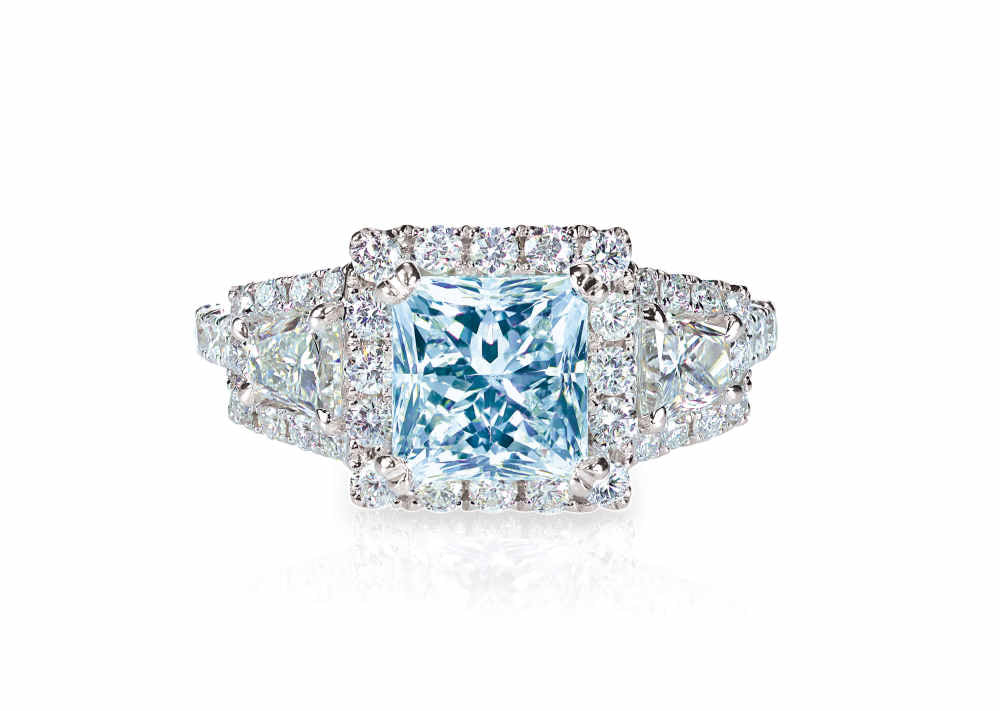 blue  halo engagement rings