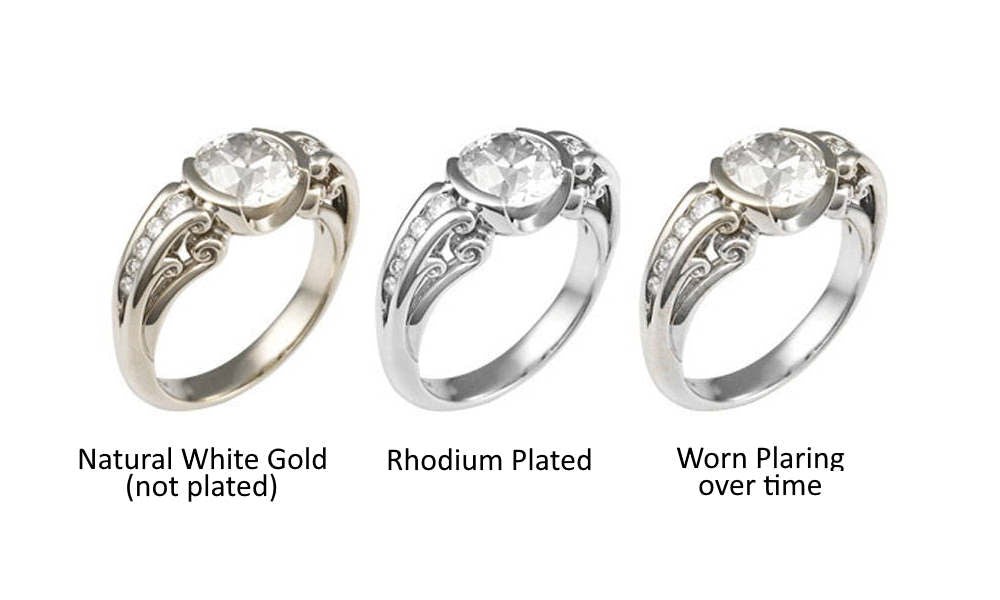 rhodium plated rings before and after wear and tear