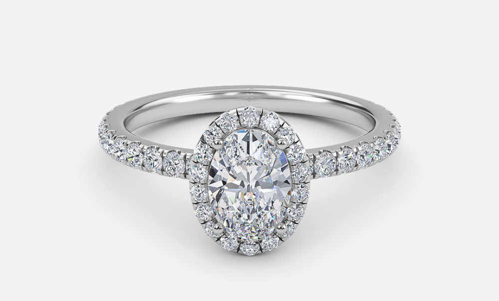 oval floating halo engagement ring