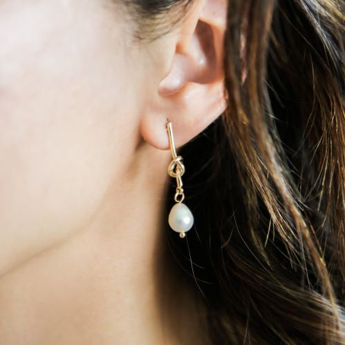 Knotted Pearl Drop Earrings