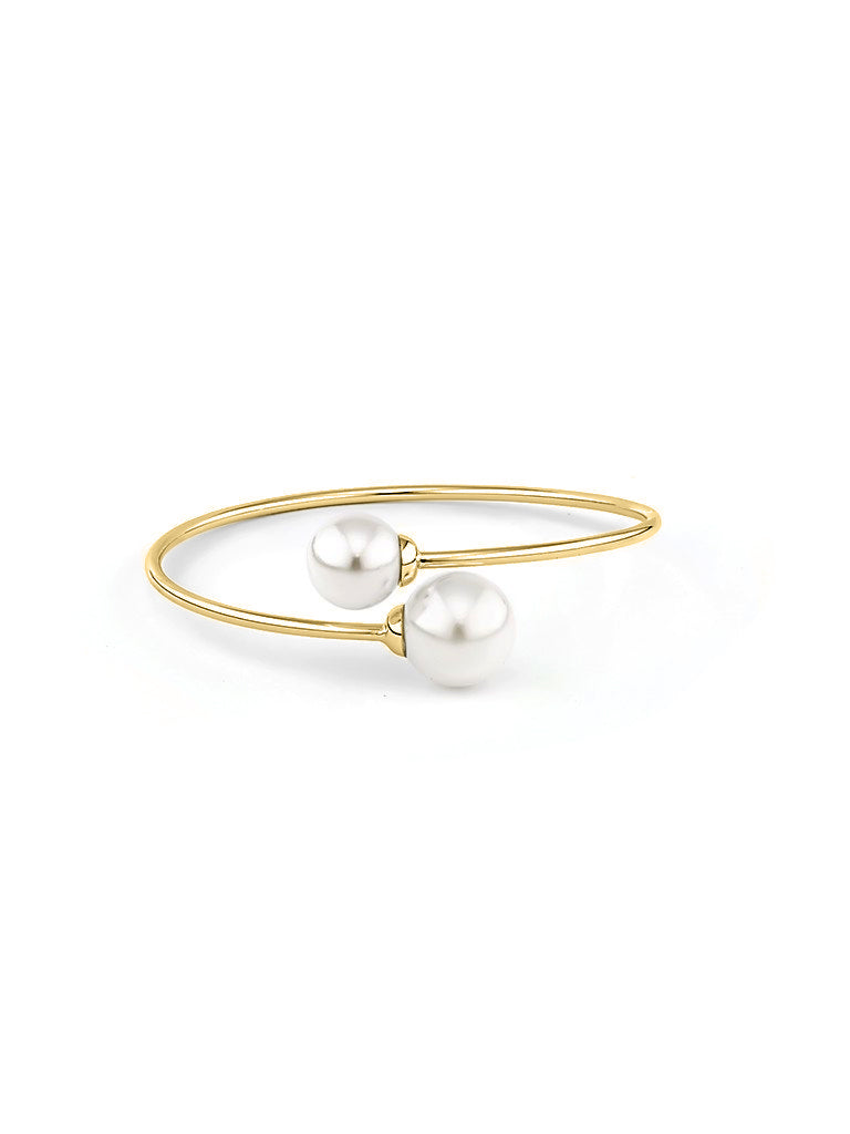 Pearl Embrace Bangle - Gold