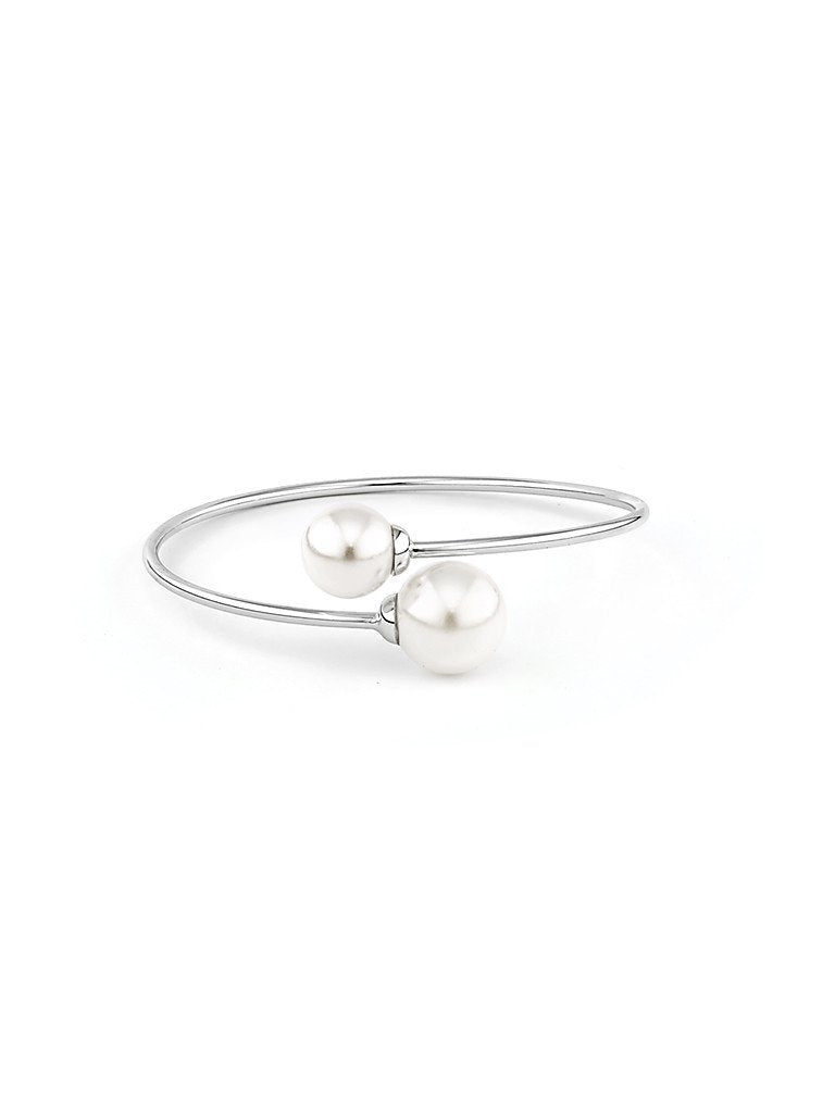 66d07243177 Pearl Embrace Bangle - Silver