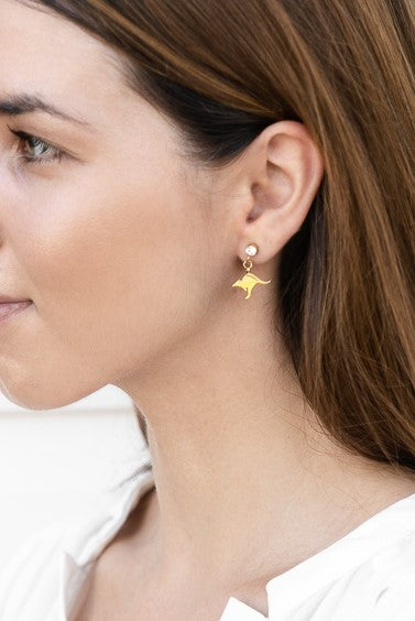 Kangaroo Crystal Earrings - Gold
