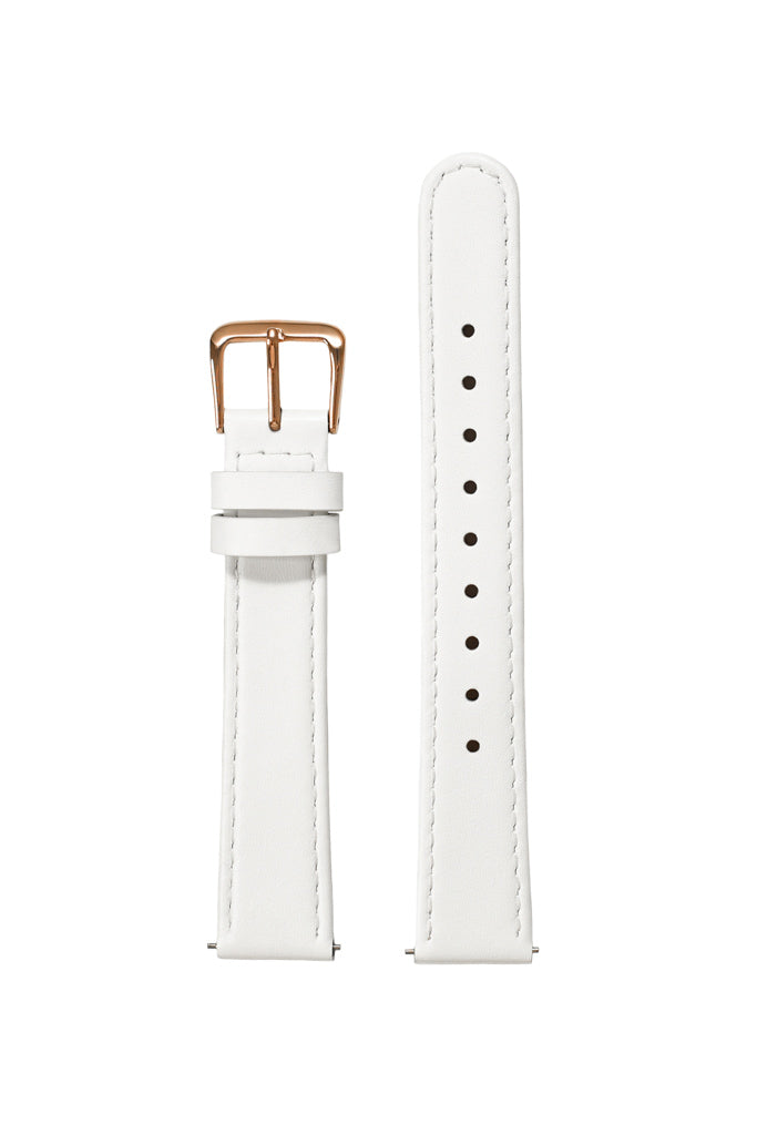 White Leather Strap - Rose Gold Buckle