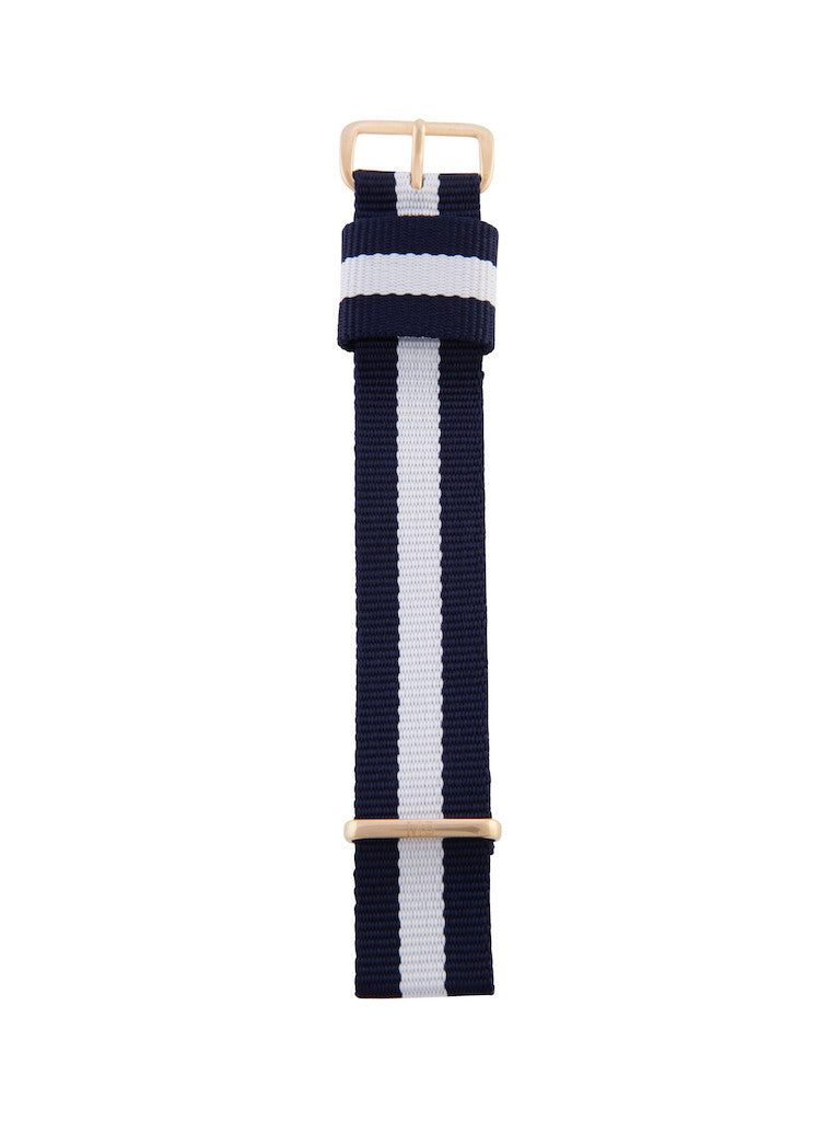 Nato Strap (Blue/White) - Rose Gold Buckle 1