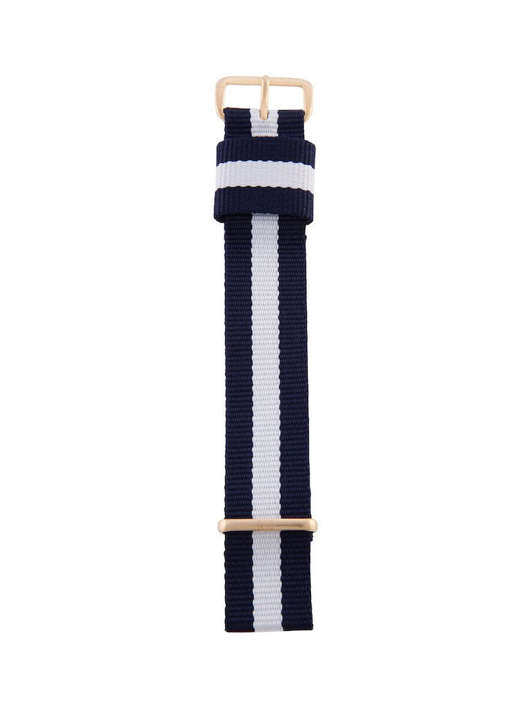 Nato Strap (Blue/White) - Rose Gold Buckle