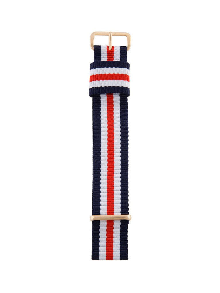 Nato Strap (Blue/Red/White) - Rose Gold Buckle