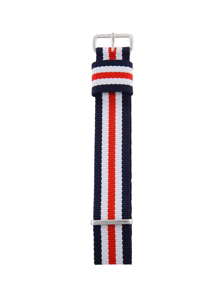 Nato Strap (Blue/Red/White) - Silver Buckle - 20mm