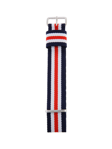 Nato Strap (Blue/Red/White) - Silver Buckle 1
