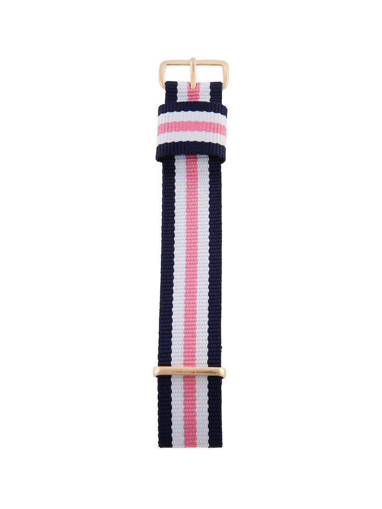 Nato Strap (Blue/Pink/White) - Rose Gold Buckle 1