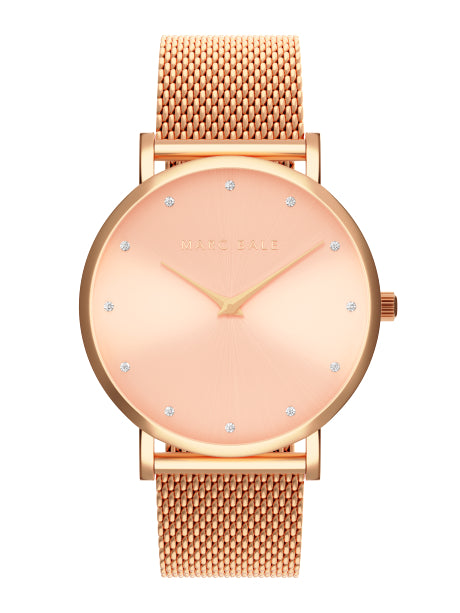Rose Gold Crystal Sunray - Rose Gold Mesh - Classic