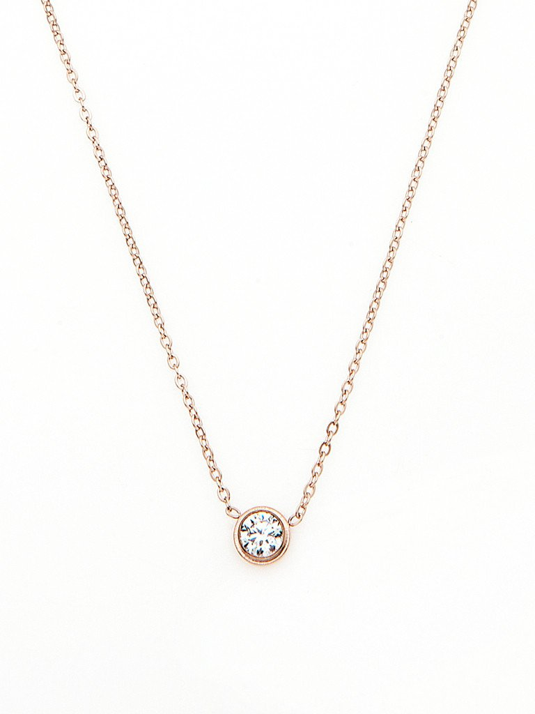 Crystal Bezel Necklace - Rose Gold
