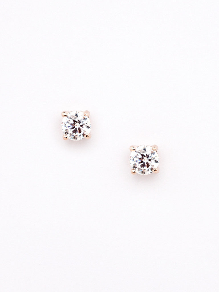 Modern Crystal Stud - Rose Gold 1