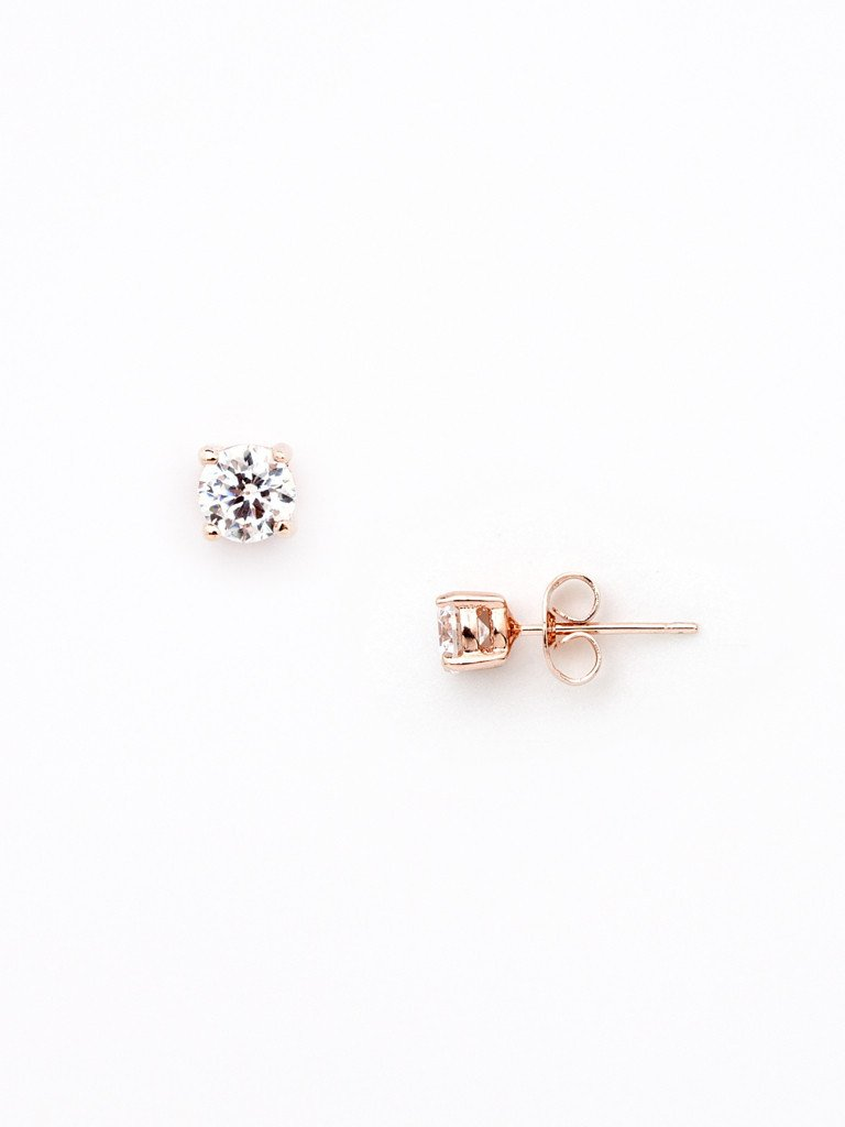 Modern Crystal Stud - Rose Gold