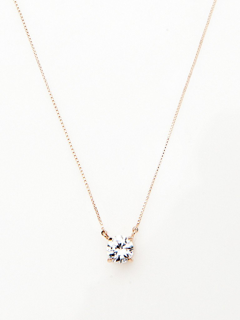 Crystal rose gold necklace thepeachbox crystal solitaire pendant necklace aloadofball Image collections