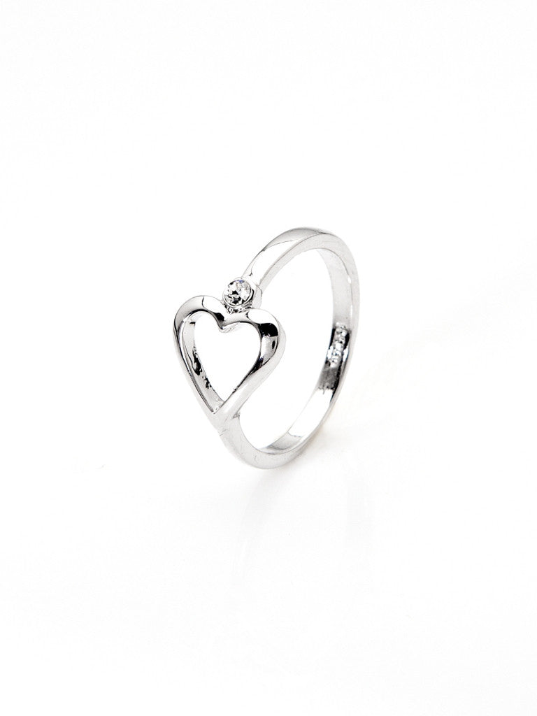 One Love Heart Ring - Silver 1
