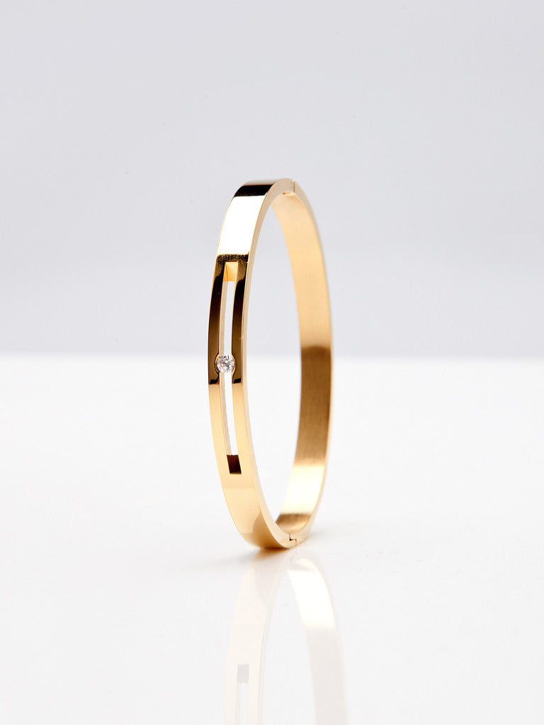 Floating Crystal Bangle - Gold 2