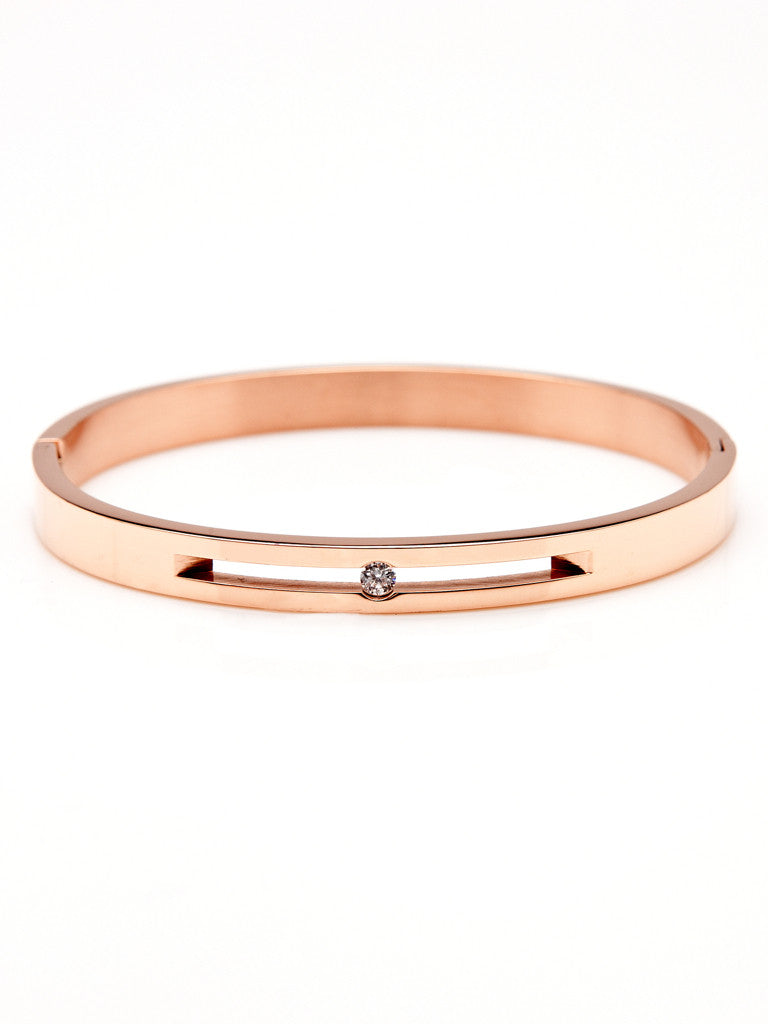 Floating Crystal Bangle - Rose Gold 1