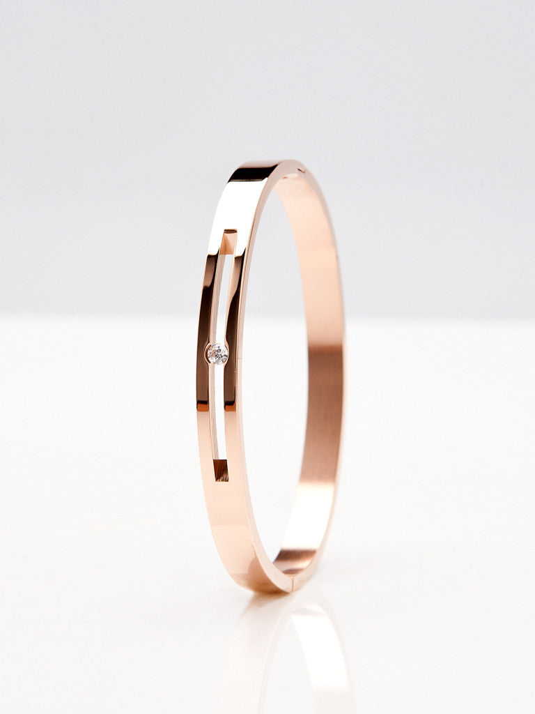 Floating Crystal Bangle - Rose Gold 2