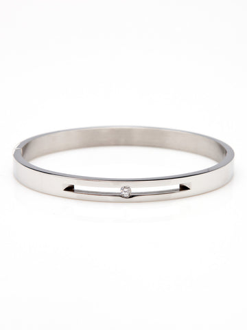 Floating Crystal Bangle - Silver 1