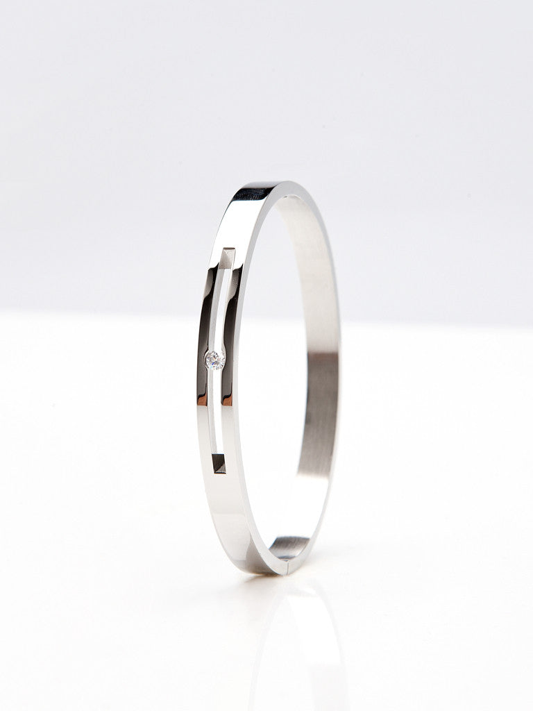 Floating Crystal Bangle - Silver 2