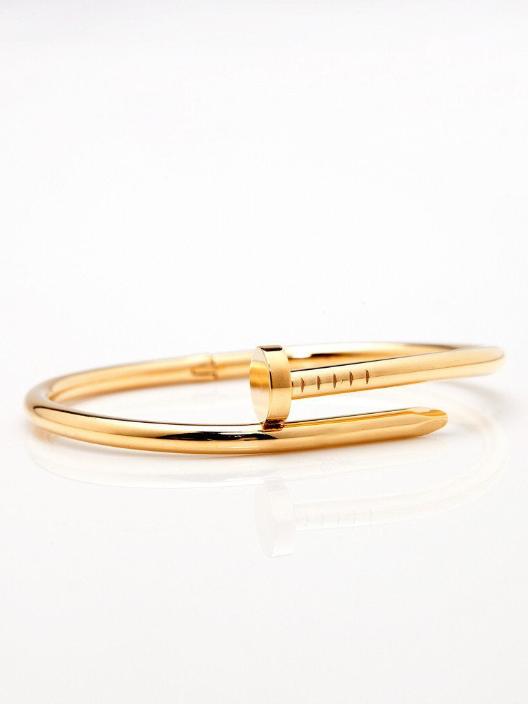 Twisted Nail Bangle - Gold
