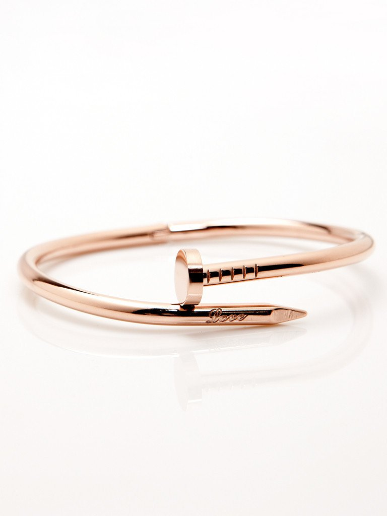 Twisted Nail Bangle - Rose Gold