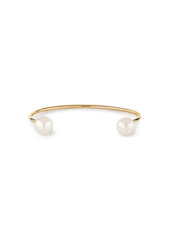 Open Pearl Bangle - Gold 1